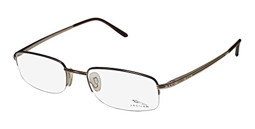 Jaguar 3371 Mens Designer Half-rim Flexible Hinges Eyeglasses/Glasses (54-20-140, Gold / Plum / - Jaguar Frames Eyeglass