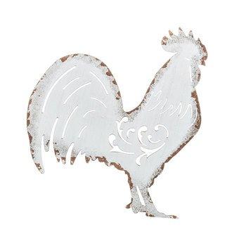 White Metal Farmhouse Rooster Wall Decor