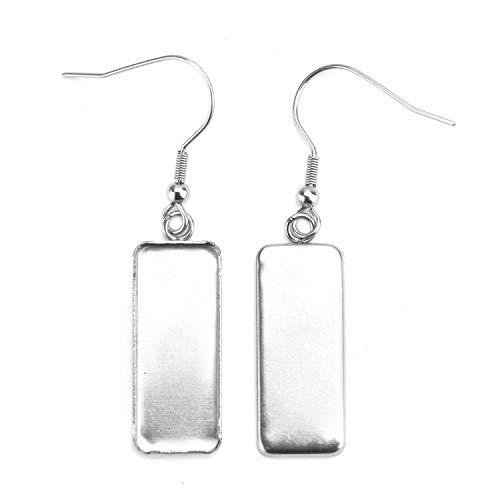 (Monrocco 20Pcs Cabochon Earring Settings, Earring Blanks Earring Wire Hooks Blanks for 25mm x 10mm Cabochon Settings (Silver))