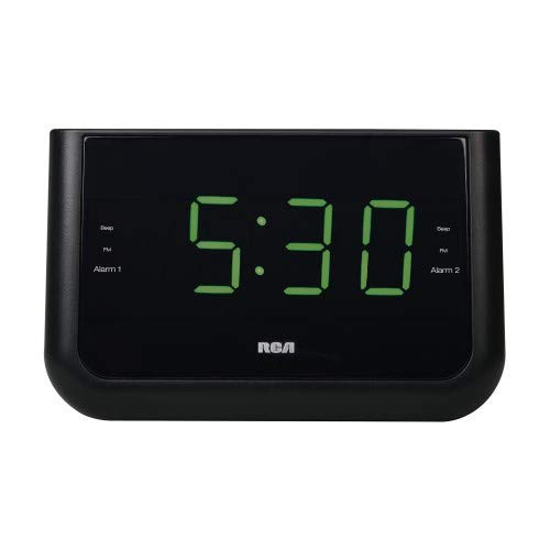 RCA Digital Alarm Clock with Large 1.4 Display (Green) and USB Charging