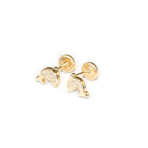 Boucles d'Oreilles Enfant dauphin Or Jaune 18 Carats (750/1000)