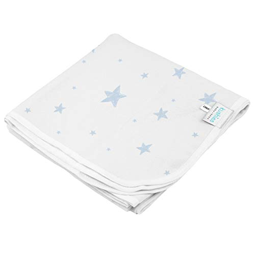 Kushies Baby Receiving Blanket Flannel, Blue Scribble Stars, Blue/White