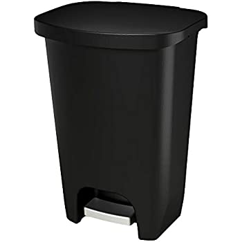 GLAD GLD-74030 Plastic Step Trash Can with Clorox Odor Protection of The Lid   13 Gallon, 50 Liter, Black