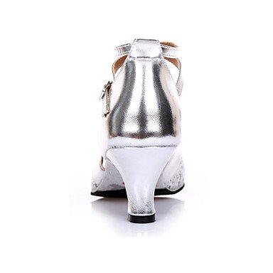 XIAMUO Nicht anpassbar - Die Frauen tanzen Schuhe Wildleder Wildleder Salsa Fersen Ferse Praxis Silber Gold, Silber, US 9 / EU 40/UK7/CN41