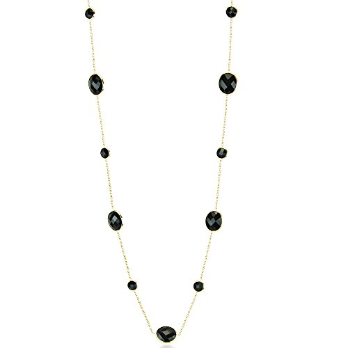 14k Yellow Gold Necklace With Oval and Round Shape Black Onyx 24 Inches