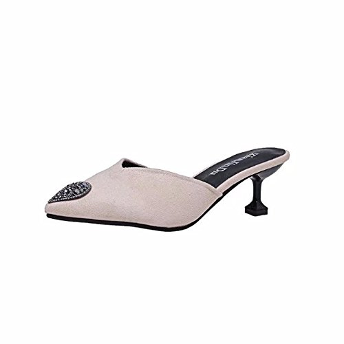 GAOLIM Verano Baotou Sugerencia Pajarita Con Pequeños Detalles Como El Calzado, Los Zapatos De Tacón Alto Y Sandalias Y Zapatillas Zapatos De Mujer M blancoUn