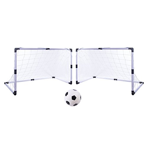 Soccer Goal, Yamix Set of 2 Soccer Goal Net Portable Soccer Goal Set With Soccer Ball and Pump - White by Yamix