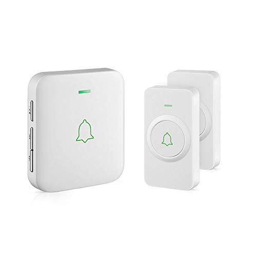 Wireless Door Bell, AVANTEK CW-21 Mini Waterproof Wireless Doorbell Operating at Over 1000 Feet, 2 Remote Buttons Can Have Different Tones, 52 Melodies, CD Quality Sound and LED Flash ()