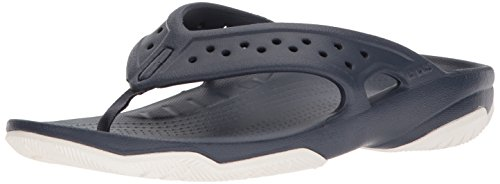 - Crocs Men's Swiftwater Deck Flip M Flop, Navy/White, 11 M US