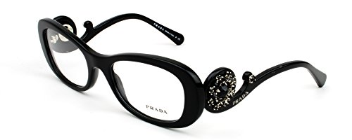 "black prada limited edition rhinestone eyeglasses pr10qv ""ornate collection"""