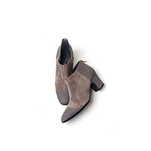 Inverno moda stivali corti pelle gioventù-ispirato Stivali donna scamosciata cuciture scarpe , 39 GRAY-35