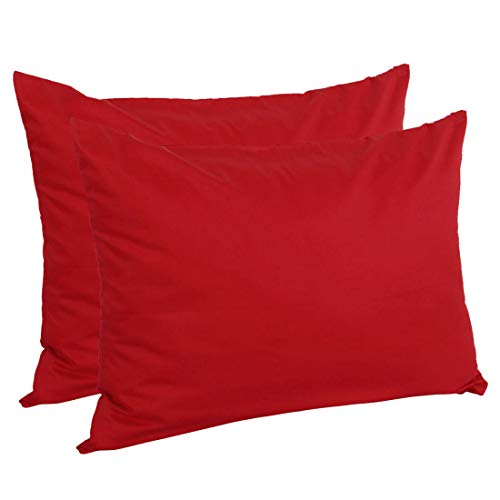 uxcell Zippered Standard Pillow Cases Pillowcases Covers, Egyptian Cotton 300 Thread Count, 20 x 26 Inch, Red, Set of 2