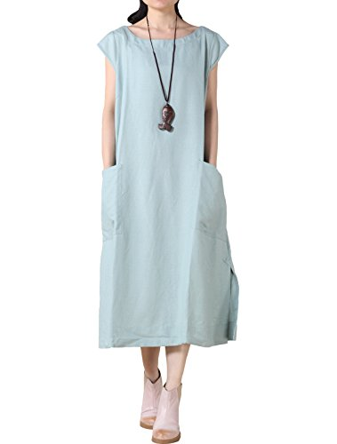 Mordenmiss Women's Cotton Linen Dresses Cap Sleeve Summer Dress with Pockets M-Light Turquoise...]()