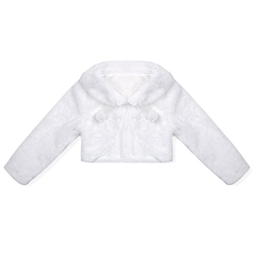 moily Kids Long Sleeve Faux Fur Bolero Jacket Flower Girl Dress Coat Wedding Party Princess Cape White 2-3