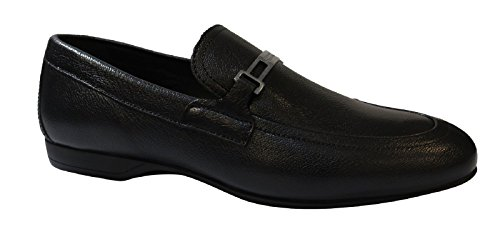 Versace Jeans Black Leather Loafer Shoes discount view ZERTy5p7
