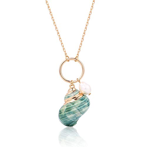 - BOUTIQUELOVIN Cute Shell Long Necklace Green Conch Seashell Pendant with Open Circle Beach Jewelry for Teen Girls Kids
