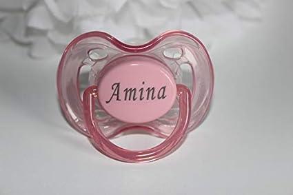 Regalos personalizados – sin BPA de Philips Avent chupetes (0 – 6 meses, 2 unidades), color rosa y blanco – Grabado gratuito con nombre