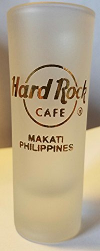 Hard Rock Cafe Frosted Makati Philippines (Gold Lettering) Cordial Shot Glass