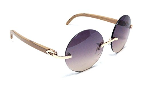 Diplomat Rimless Round Metal & Wood Grain Frame Sunglasses (Rose Gold & Light Brown Wood Frame, Brown - Round Rimless Glasses