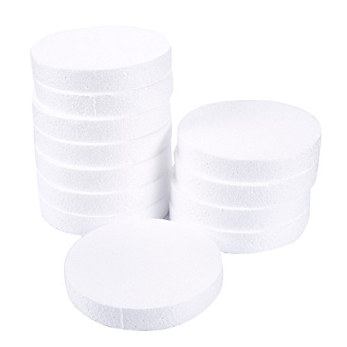 Craft Foam Circle - 12-Pack Polystyrene Foam Disc Foam Round for Sculpture, Modeling, DIY Arts and Crafts - White, 6 x 6 x 1 Inches