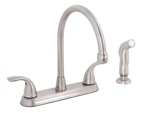 Premier 120448LF Bayview Lead-Free Two-Handle Kitchen Faucet with Matching Spray, PVD Brushed Nickel by Premier Faucet