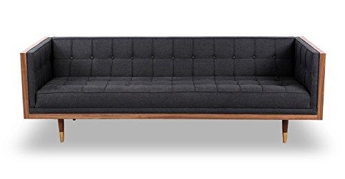 Kardiel Woodrow Midcentury Modern Box Sofa, Urban Ink Twill/Walnut For Sale