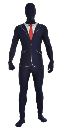 Forum Novelties Women's Disappearing Man Patterned Stretch Body Suit Costume Business Print, Blue/White, Medium/Large