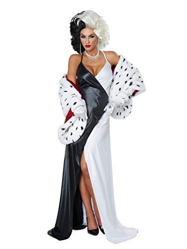 Cruella Deville Costumes (California Costumes Women Cruel Diva/Adult, Black/White/Red,)