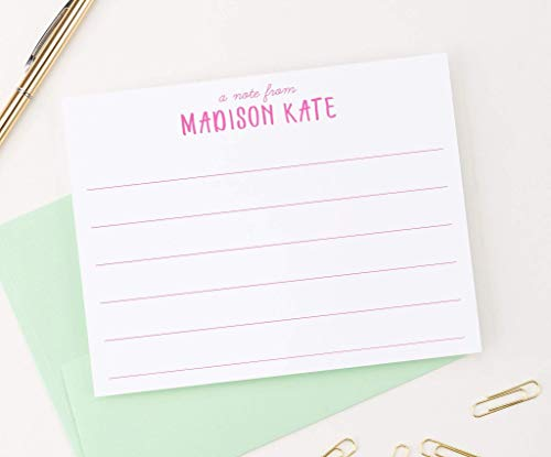 Personalized Lined Stationery for Girls, Personalized stationery for girls, Stationery for kids, Kids thank you notes, Your Choice of Colors and Quantity