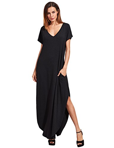 Verdusa Women's V Neck Side Pockets Split Hem Beach Long Maxi Dress Black M