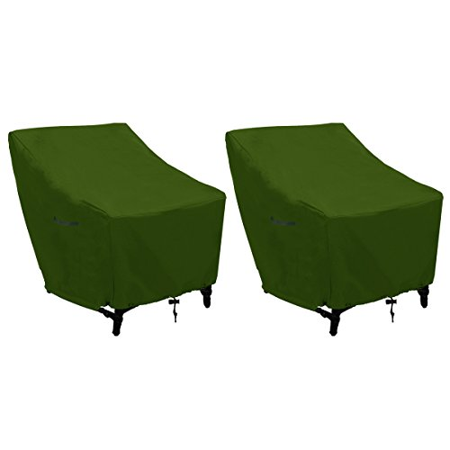 Patio Chair Covers Stackable Chairs Cover Outdoor Chairs Covers Premium Outdoor Furniture Cover Durable and Water Resistant Fabric, for Lounge Chairs-Green(L31 x D39 x H31 inch, Green 2Pack) by konln
