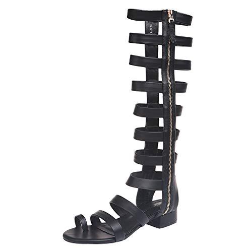 ZOMUSAR 2019 Shoes, Summer Roman Sandals Fashion Women's Zipper Knee High Boots Flats Beach Shoes Black