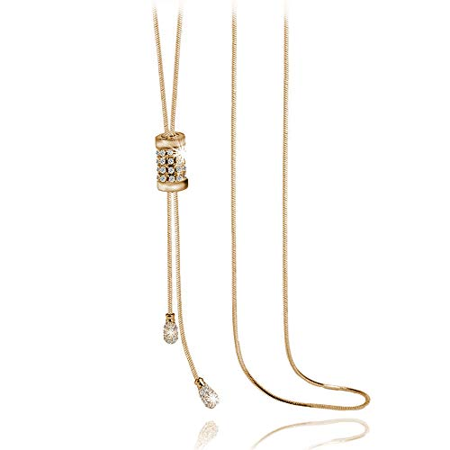 Prometheism Sparkle Rhinestone Tassel Pendant Necklace Long Sweater Necklace for Women Girls Fashion Y Shaped Adjustable Knot Snake Chain (Gold)