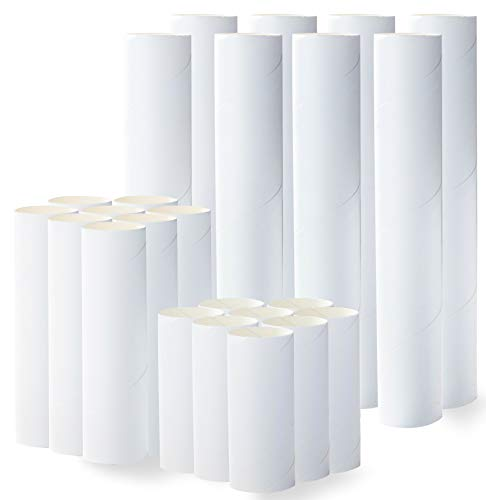 Craft Rolls - 24-Pack Cardboard Tubes for DIY Crafts, 4-Inch, 6-Inch, 10-Inch Paper Cardboard Tubes for DIY Arts and Crafts Projects, 8 of Each Length, White