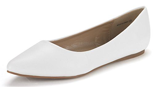 DREAM PAIRS Sole Classic Women's Casual Pointed Toe Ballet Comfort Soft Slip On Flats Shoes White PU Size 8.5