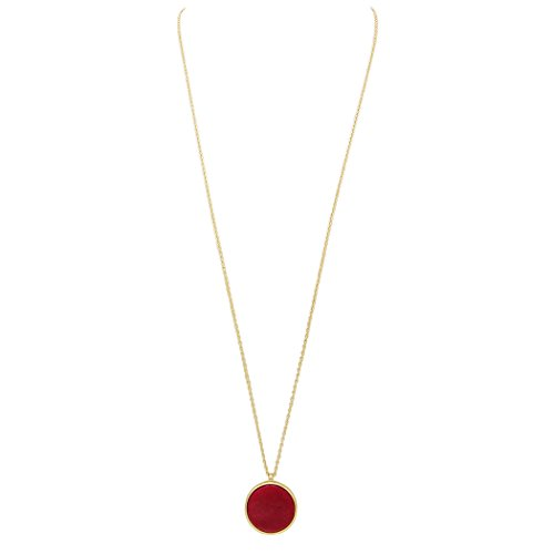 Rosemarie Collections Women's Reversible Stone Pendant Long Strand Necklace (Red/Turquoise)
