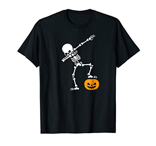 (Funny dab dabbing Pumpkin Head Skeleton Halloween T-shirt)