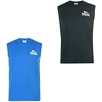 Official Brand Lonsdale Sleeveless T Shirt Mens Vest Tops Tank Blue/White Medium