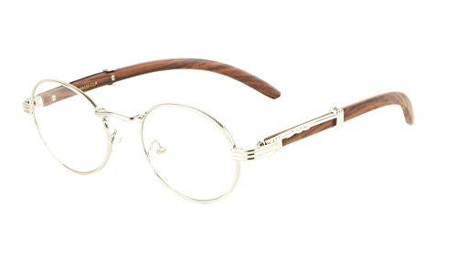 Scholar Luxury Oval Metal & Wood Eyeglasses/Clear Lens Sunglasses (Silver & Cherry Wood Frame, Clear) (Grain Glasses Wood)