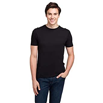 bossini Men's 2-Pack Solid Undershirts, Round Neck 100% Cotton Comfy Shirts - Black - L,US Size 40