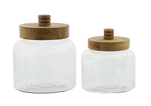 """Deco 79 94966 Glass Jars with Mango Wood Lids (Set of 2), 5"""" x 6"""", Clear/Brown"""