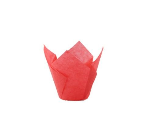 Tulips Red Silicone Baking Cup Liner (Case of 1000), PacknWood - Red Parchment Paper Cupcake Liners (4 oz) 209CPST5R by PacknWood
