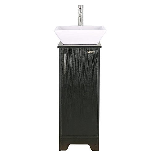 13 inch Modern Bathroom Vanity Units Cabinet And 16 inch Sink Stand Pedestal with Square White Ceramic Vessel Sink with Chrome Bathroom Solid Brass Faucet and Pop Up Drain Combo