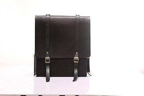 Black Leather Handmade Backpack