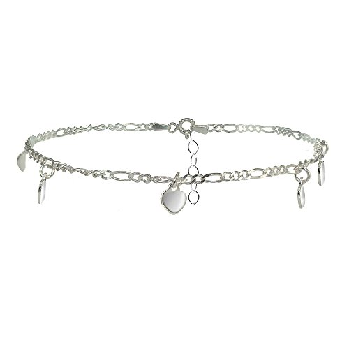 ro Chain Anklet with Dangling Heart Charms ()