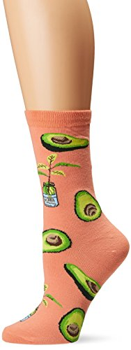 California Avocado - K. Bell Women's Food & Drink Novelty Casual Crew Socks, Avocado (Coral), Shoe Size: 4-10