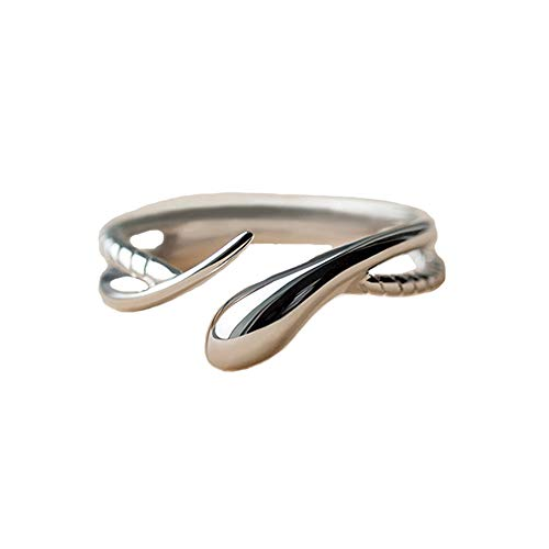 - BRBAM Adjustable Gothic Punk Style Coiled Snake Ring Unisex Retro Jewelry Gift (Style 2-Silver)