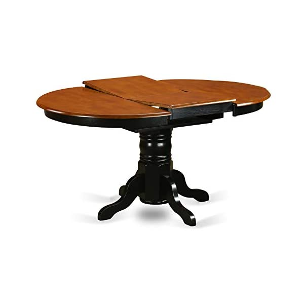 East West Furniture Butterfly leaf Oval Table - Cherry Table Top Surface and Black Finish Pedestal Legs Hardwood Frame…