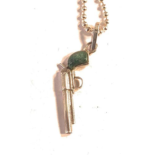Zuni Sterling Silver And Turquoise Pistol Pendant from Nizhoni Traders LLC