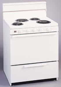 "30"" Deluxe Electric Range w/ Standard Clean Oven Solid Oven Door & 4"" Porcelain Backguard: White On"
